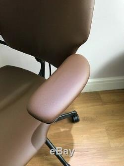 Tan Leather Humanscale Freedom Ergonomic Office Task Chair With Headrest