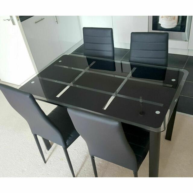 Tempered Glass Rectangle Dining Table & 4/6 Chairs Set Pu Leather Kitchen Office