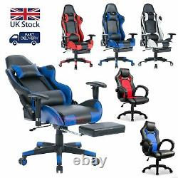 UK Racing Gaming Chairs Leather Lift Swivel Office Computer Desk Chair Teen Kids