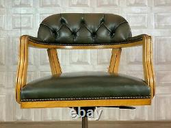 VINTAGE Green Leather Chesterfield Captains Chair Office Desk £55 DELIVERY