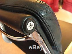 VITRA Eames EA208 Soft Pad Chrome Base Swivel Chair Armrests Blue Leather