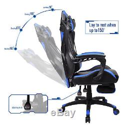 Video Computer Gaming Chair PU Leather Recliner Sports Swivel Footrest Seat Blue