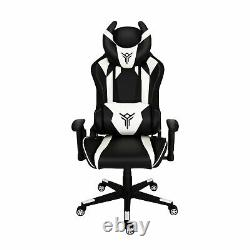 Video Gaming Racing Chair with RGB LED Light Swivel Leather Computer Desk Office