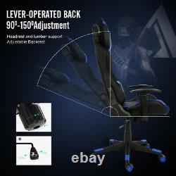 Video Racing Gaming Chair with RGB LED Light Swivel Leather Computer Desk Office