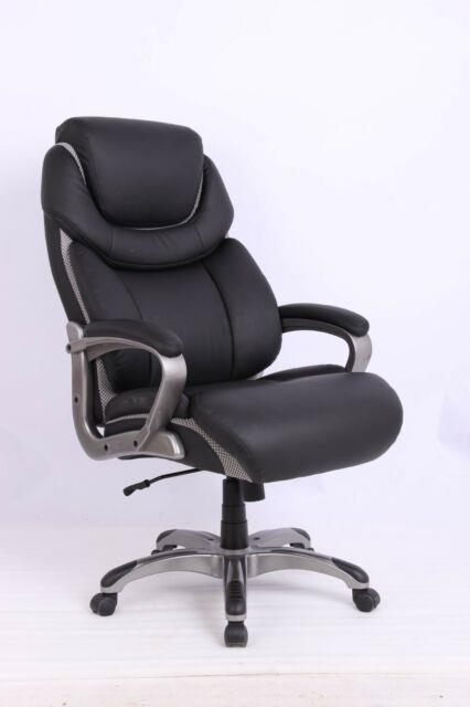 Vinmax Black Leather Executive Swivel Big & Tall Office Chair