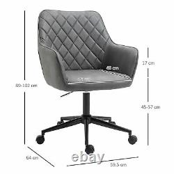 Vinsetto Argyle Office Chair Leather-Feel Fabric Home Study Leisure with Wheels