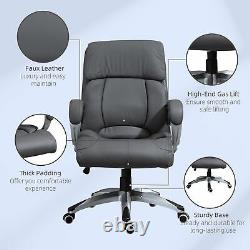 Vinsetto High Back Home Office Chair Swivel Executive PU Leather Chair, Grey