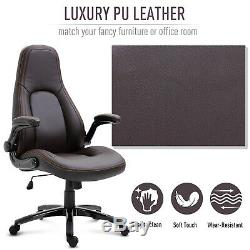 Vinsetto Office Chair 360° Swivel Ergonomic Adjustable Height PU Leather Coffee