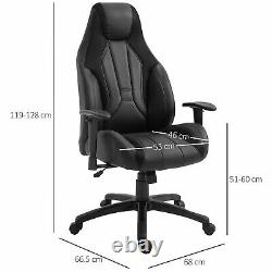 Vinsetto Office Chair Swivel Racer Chair Adjustable Height and Armrest PU Black