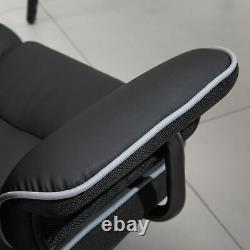 Vinsetto Piped PU Leather Padded High-Back Computer Office Gaming Chair Black