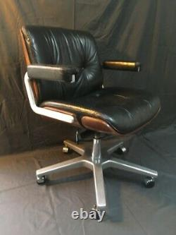 Vintage 1950s Retro Mid Century Stoll Giroflex Leather Office Swivel Chair By Ka
