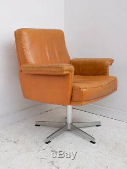 Vintage 1960s De Sede DS35 Leather Desk Office Chair Armchair