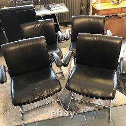 Vintage 1970s Boss Design Executive Office Desk Chair Black Leather