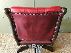 Vintage Antique Chesterfield Style Red Real Leather Office Swivel Desk Chair VGC