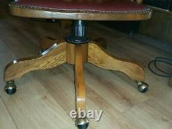 Vintage Antique Oak & Red Leather Swivel Office Desk Captains Chair Brass Castor