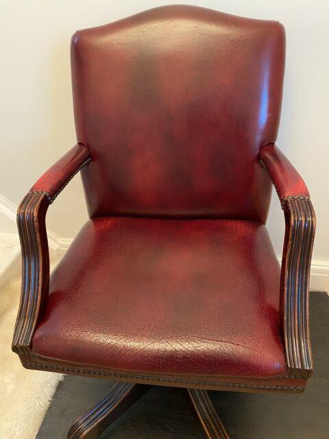Vintage Antique Oak & Red Leather Swivel Office Desk Chair Brass Castor