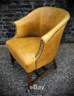 Vintage Antique Office Desk Chair Captains Tub Chair Mustard Aniline Leather