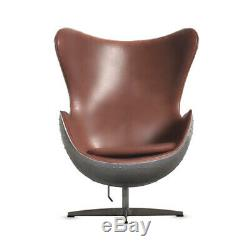 Vintage Aviation Aviator Egg Chair Swivel Chair Aluminium Leather Office Chair