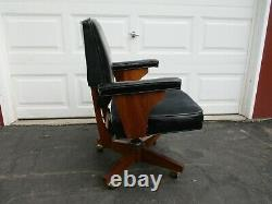 Vintage B. L. Marble Chair Co. Leather Wood Executive Office Desk Chair Pre 1965
