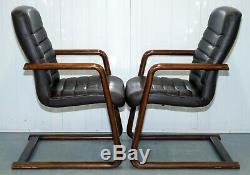 Vintage Brown Leather Gordon Russell Verco Office/dining Chairs 1 Left