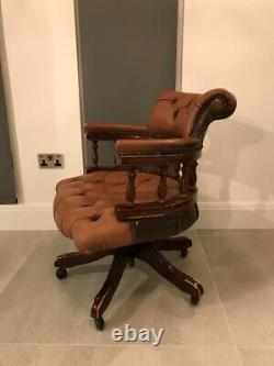 Vintage Captains Chair Office Chair Swivel Desk Chair with leather upholstery