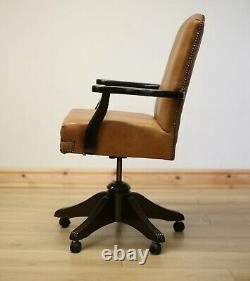 Vintage Captains Tan Leather Office Armchair / Chair
