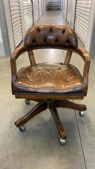 Vintage Chesterfield Captains Style Ring Mekanikk Brown Leather Office Chair