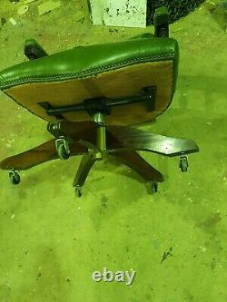 Vintage Chesterfield Green Captains Directors Swivel Office Chair Unrestored