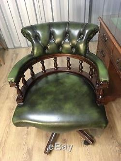 Vintage Chesterfield Green Leather Style Captains Chair Office Chair