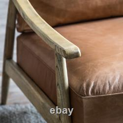 Vintage Danish Armchair Mid Century Leather Seat Accent Industrial Sofa Chair