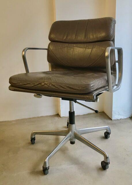 Vintage Eames Soft Pad For Herman Miller In Warm Grey Leather