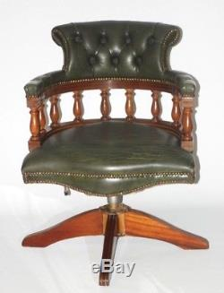 Vintage English Hand made Leather Captains Desk Chair FREE Shipping PL4395