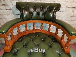 Vintage Green Buttoned Leather Chesterfield Swivel Office Captains Chair Ring