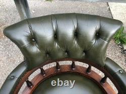 Vintage Green Leather Chesterfield Captains Swivel / Tilt Office Chair