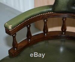 Vintage Green Leather Chesterfield Regency Style Captains Directors Office Chair