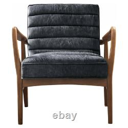 Vintage Leather Armchair Mid Century Seat Accent Industrial Style Sofa Chair