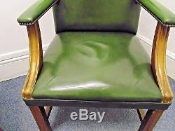 Vintage Leather Bankers Office Library Gainsborough High Back Armchair Used