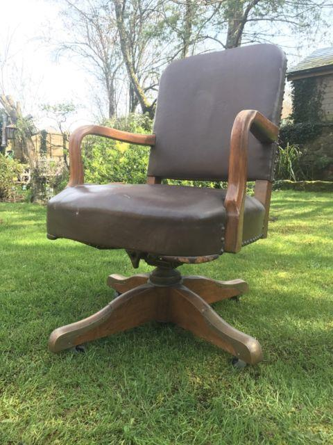 Vintage Leather Captains Arm Chair Brass Oak Swivel Office