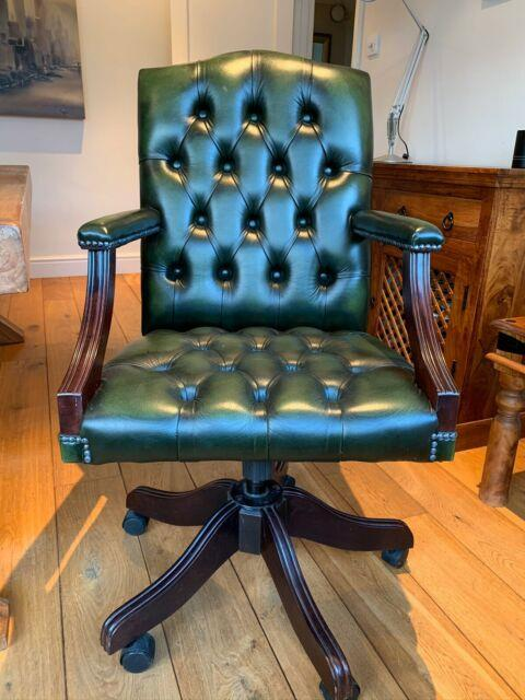 Vintage Leather Chesterfield Captains Swivel Desk Chair