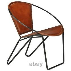 Vintage Leather Lounge Chair Metal Round Armchair Retro Dining Guest Office Seat