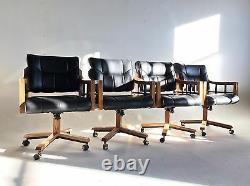 Vintage Mid Century Naugahyde Office Chair Faux Leather Modern Swivel Tilt Wood