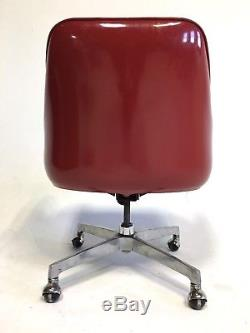 Vintage Mid Century Red Egg Eames Danish Clam Faux Leather Chair Office Swivel
