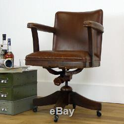 Vintage Oak and Leather Hillcrest Swivel Desk Office Chair 1930s