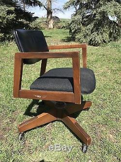 Vintage Office Chair Mid Century Danish Modern Wood Brass Swivel Leather Walnut