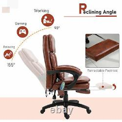 Vintage PU Leather Deluxe Massage Office with 7 Points Back Pillow Footrest Brown
