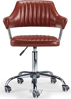 Vintage Pilot Desk Chair Swivel Computer PC Office Armchair Brown Eco Leather UK