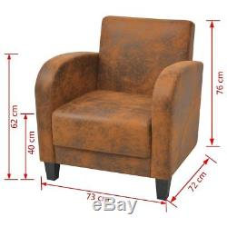 Vintage Pine Wood Armchair Chair Seating Foam Upholstered Office PU Leather Home