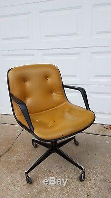 Vintage Pollock Knoll Desk Swivel Chair Executive Office Mustard Mid Century