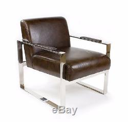 Vintage Real Leather Office Armchair Stainless Steel Design Lounge Chair 445