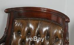 Vintage Regency Style Mahogany & Brown Leather Library Office Desk Arm Chair